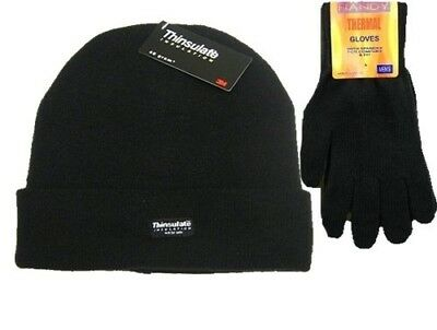 Mens Black Thermal Thinsulate Winter Hat and Handy Thermal Gloves Set. Free Deli