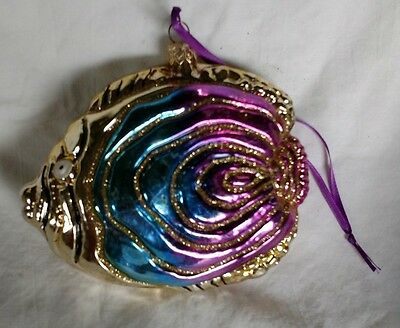 GUC Glitter Decorated Glass Tropical Fish Ornament POLAND
