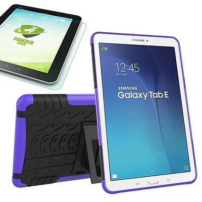 Hybrid Outdoor Purple Bag for Samsung Galaxy Tab E 9.6 T560 + 0.4 Tempered glass