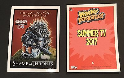 Shame of Thrones Wacky Packages 2017 Garbage Pail Kids Summer TV Sticker #5 Game