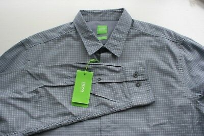 NWT $125 Hugo Boss Gray Multi Shirt LS Mens XL C-Bustai 50329930 410 Regular