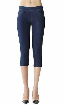 Skinny Jegging Capri Super Stretch Knit Denim for Women with Fully Fun Size XL