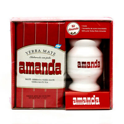 Amanda Yerba Mate Tea Ceramic Kit - 500g yerba mate,cup, straw (Argentina)