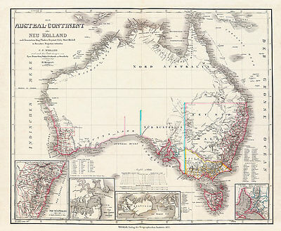 Austral Continent-Neu Holland 1855 Vintage A1 High Quality Canvas Print