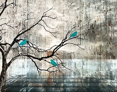Teal Brown Rustic Birds On Tree Branch Home Decor Wall Art Matted Picture