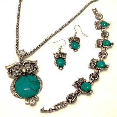 Natural Turquoise Stone Owl women's Vintage Silver Earrings&Necklace&Bracelets