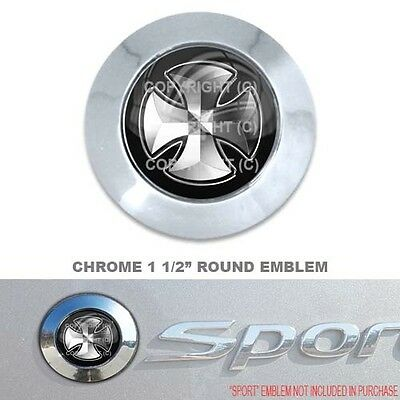 "Chrome 1 1/2"" Round Adhesive Emblem - Car Truck SUV Motorcycle - SILVER CROSS"