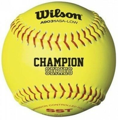 Wilson A9031 ASA Low Optic Yellow Fastpitch Softball 12 Pack by Wilson. Shipping