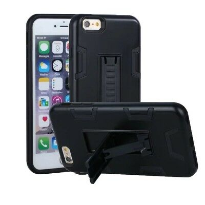 (Black) - iPhone 6 Case, iPhone 6S Case, VPR 2 In 1 Hybrid Dual Layer Plastic+So