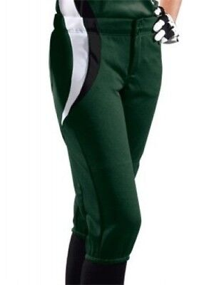 (Large, Dark Green/Black/White) - Women's Sweep Softball Pant. Shipping is Free