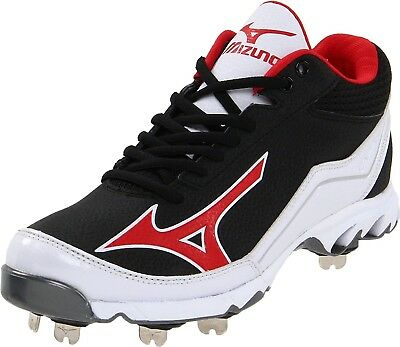 (13.5 D(M) US, Black/Red) - Mizuno Men's 9-Spike Swagger Mid Baseball Cleat. Shi