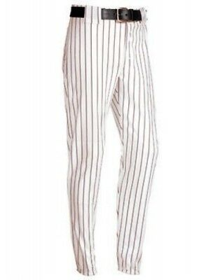 (Small, White/Maroon) - Youth Pinstripe 410ml Polyester Pant. Shipping is Free