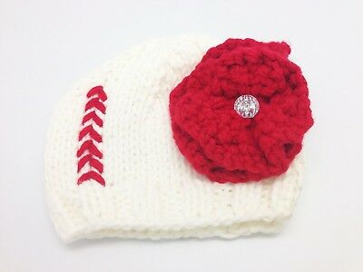 Baseball Knit Hat with flower 0-12 months. Shipping is Free