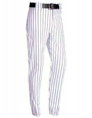 (Large, White/Purple) - Youth Pinstripe 410ml Polyester Pant. Teamwork