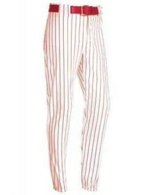 (X-Small, White/scarlet) - Youth Pinstripe 410ml Polyester Pant. Free Shipping