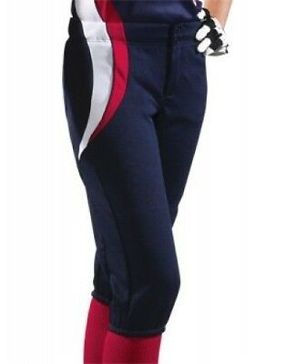 (Large, Navy/Scarlet/White) - Girl's Sweep Softball Pant. Teamwork
