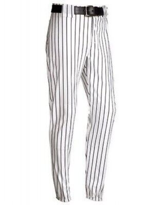 (Medium, White/Black) - Youth Pinstripe 410ml Polyester Pant. Delivery is Free