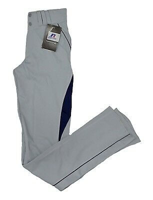 (Adult Small, Gray/Navy) - Russell Baseball Pants with Mesh Details (Youth and