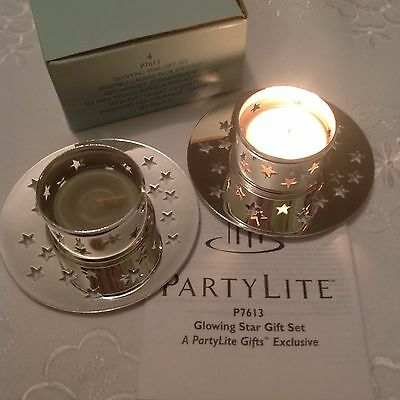PartyLite Glowing Star Gift Set ~ 2 Tealight Holders New in Box RARE