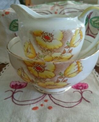 "Salisbury Crown China "" Anemone"" Large Sugar Bowl and Creamer-Handpainted"