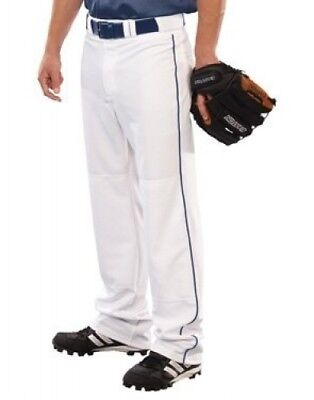 (Medium, White/navy) - Youth 410ml Pitchout Piped Open Bottom Pant. Free Deliver