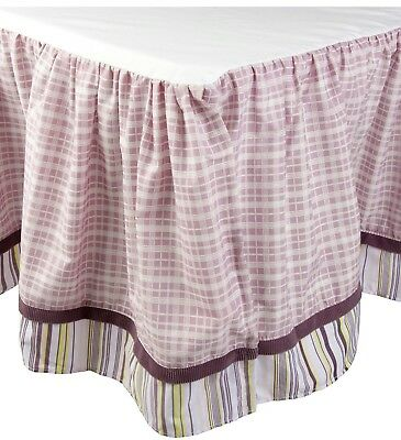 Cocalo Sugar Plum Butterfly Plaid crib bed skirt dust ruffle purple