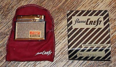Vintage Flame Crest Cigarette Lighter with Pouch and Box 2 x 1.5 • $14.99