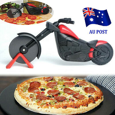 Non-stick Pizza Wheel Cutter Chopper Slicer Kitchen Tools Motorcycle Stand BO