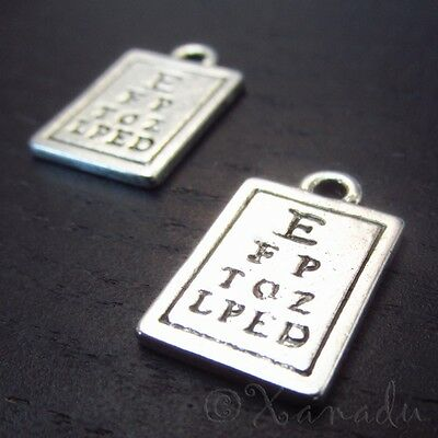 20PCs Eye Chart 17mm Antiqued Silver Plated Optometrist Charms C4338-5 10