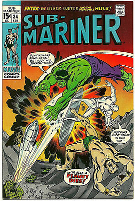 Sub-Mariner #34 VF Prelude 1st Defenders Key Issue Marvel Comics Bronze Age Key