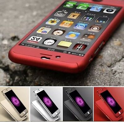 Hybrid 360° Shockproof Slim Case Cover Tempered Glass For Apple iPhone 5S 6 Plus