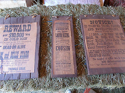 """vintage """"old west"""" wanted saloon signs 1800's cowboy gunslinger billy the kid do"""