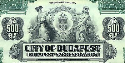1927 City of Budapest Bond Stock Certificate Kingdom of Hungary