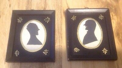 Antique Pair Of Silhouettes Black & Gold Painted Glass