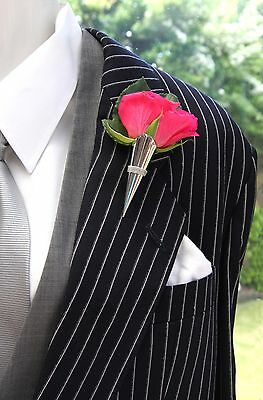 Large Silver Coloured Wedding/Prom Buttonhole Flower Vase*Corsage*Boutonniere