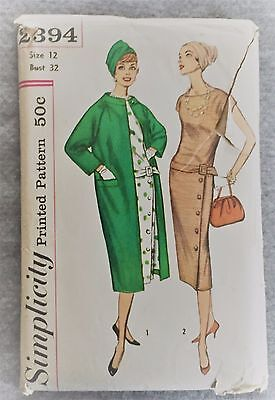 Simplicity One Piece Dress & coat Fabric material Sew Pattern Sz 12 32 b#2394