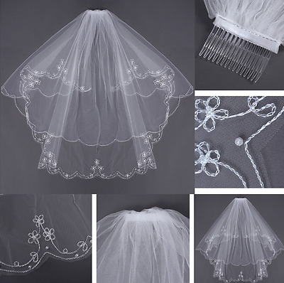 WHITE 2 Layers Bride Veil Elbow Beaded Edge Embroidery Pearls Wedding With Comb