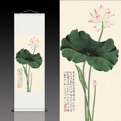 Chinese Silk Scroll Painting Home Office Decoration(荷花图)