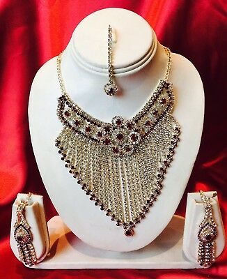 Jewelry Sets Bollywood Indian Bridal Necklace Earrings Tikka Jewellery White Maroon Green N77 Jewelry & Watches