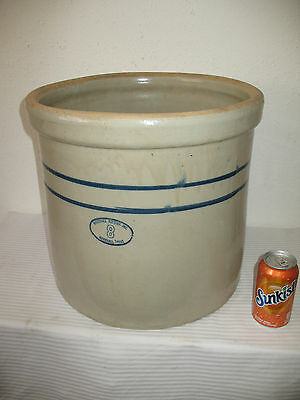 Marshall Pottery Crock 8 Gallon Stoneware Texas Blue Stripe Glazed Pot Pickling