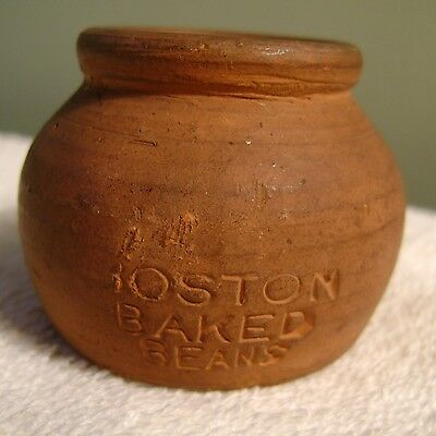 "1.5"" Antique Necco Boston Baked Beans Candy Advertising Clay Pot OK Redware"