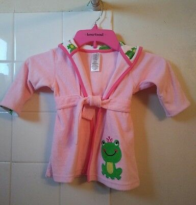 Baby Girls Carter's Pink Frog Terry Cloth Bath Robe Size 0-9 M Just One You #YH