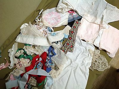 Lot of old ribbon, part lace scarf, hankies, vintage lace trim for doll clothes