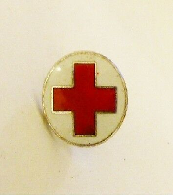 Small White Enameled Red Cross Pin Button