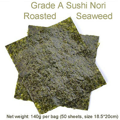 50-piece pack Japanese Sushi Nori Roasted Seaweed Grade A Quality