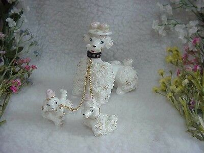 Spaghetti Poodle -Lefton Mother & Two Little Girls~Fancy Hat & Rhinestone Collar