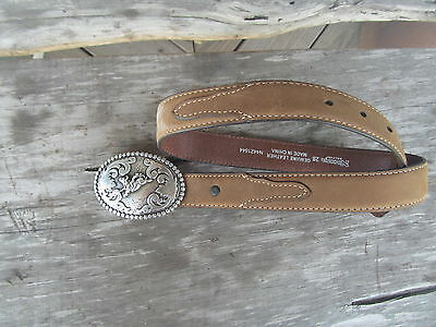 Nocona Belt Western Leather  Belt and Buckle Youth Size  28