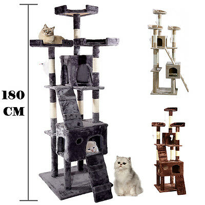 New Cat Tree Activity Centre Scratcher Scratching Post Sisal With Toys Bed