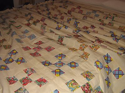Antique Feed sack 9 patch Quilt Top
