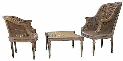 French Louis XVI Three Piece Duchesse Brisee with Caned Seats Chaise Chair 18thC